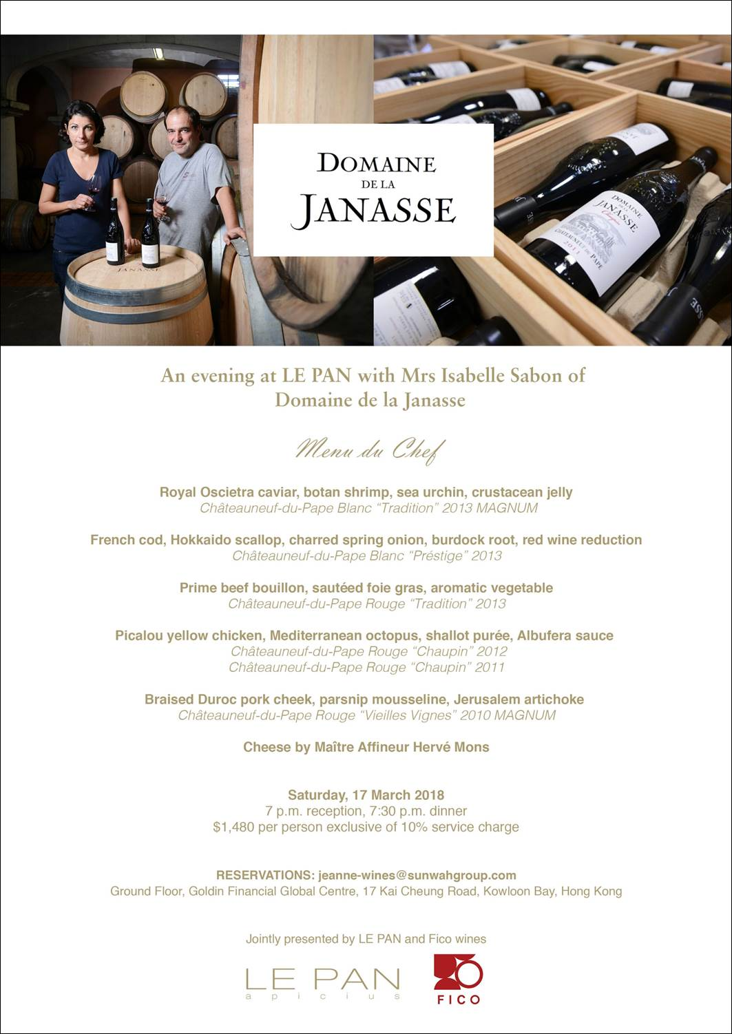 DOMAINE DE LA JANASSE WINE DINNER